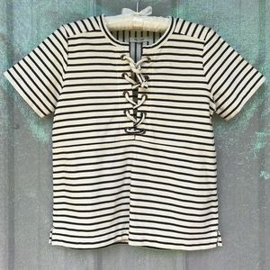 Madewell • lace front stripe top